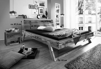 sam balkenbett holzbett fichte eichefarbig 180 x 200 cm. Black Bedroom Furniture Sets. Home Design Ideas
