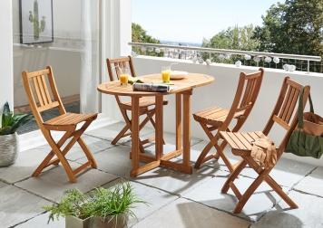 SAM® Balkonmöbel Set 5tlg Akazie Klapptisch 120 cm PEDRO/BLOOM