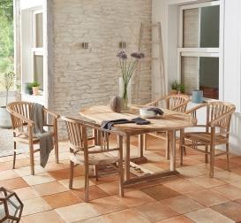 SAM® Teak Gartenmöbel Set 5tlg Tisch 120 - 170 cm BORNEO/MORENO