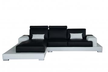 SALE Sofa Ecksofa 330 x 198 cm schwarz/weiß links ELEONORA
