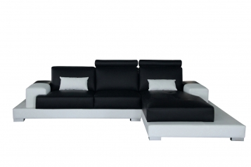 SALE Sofa Ecksofa 330x 198 cm schwarz/weiß rechts ELEONORA