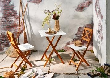 sale balkonset akazie weiss 3tlg tisch 60 x 60 klappst hle xanten auf lager. Black Bedroom Furniture Sets. Home Design Ideas