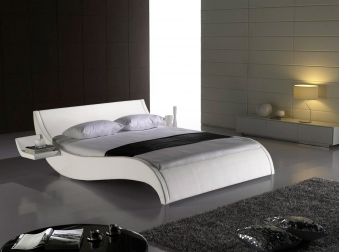 sale bett doppelbett polsterbett wei 140 cm macao auf lager. Black Bedroom Furniture Sets. Home Design Ideas