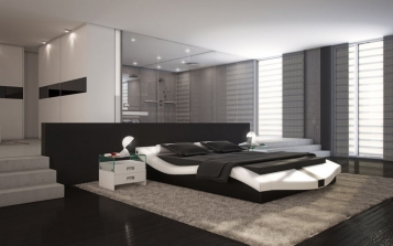 sam polsterbetten polsterbett 140 x 200 cm wei schwarz. Black Bedroom Furniture Sets. Home Design Ideas