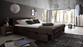 sam massivholzbett 180x200cm wenge kopfteilauswahl. Black Bedroom Furniture Sets. Home Design Ideas