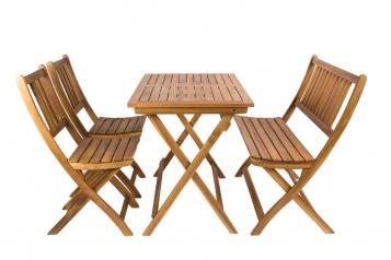 Gartenmöbel Set 4tlg Akazienholz Balkontisch 80x60 cm SKARA