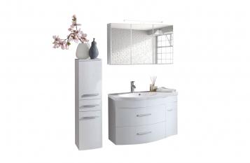 SAM® Badmöbel Set 3tlg Waschtisch 110cm Hochglanz weiß Lugano Auf Lager !