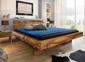 SAM® Balkenbett Massivholzbett 200x200 cm Fichte eichefarben BENNET