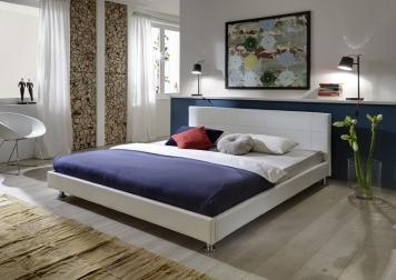 Polsterbett 140x200 cm Bett weiß Traconte