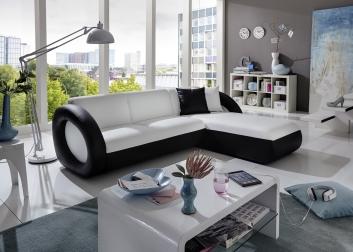SALE Ecksofa Polsterecke 236 x 180 cm weiß schwarz Onda-L