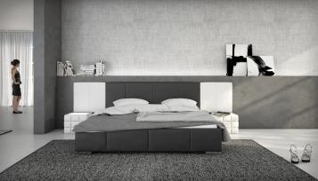 SALE Polsterbett 140 x 200 cm schwarz / weiß Nemo
