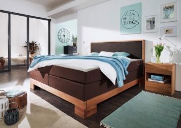 sale boxspringbett doppelbett braun eiche 160 x 200 cm saskia auf lager. Black Bedroom Furniture Sets. Home Design Ideas