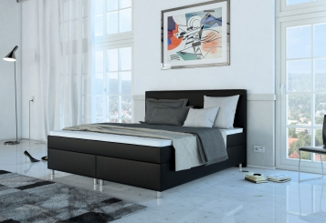 sam boxspringbett hotelbett 180 x 200 cm schwarz neo demn chst. Black Bedroom Furniture Sets. Home Design Ideas