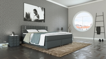 sam boxspringbett hotelbett stoff grau led 180 x 200 cm kaya demn chst. Black Bedroom Furniture Sets. Home Design Ideas