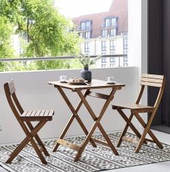SAM® Balkonmöbel Set 3tlg. Akazienholz Klapptisch 60x60 BELANI Auf Lager !