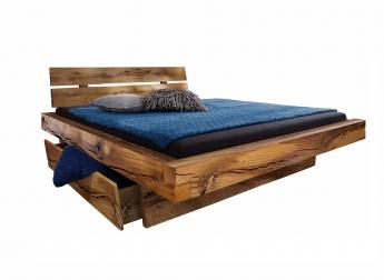Balkenbett Massivholz 200x200 mit Bettkasten Fichte BENNET