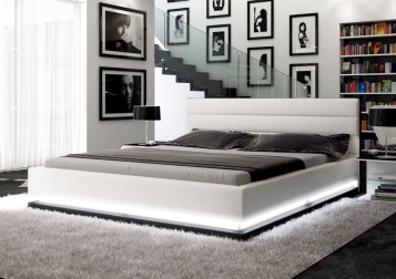 SALE Polsterbett 200 x 200 cm weiß/schwarz LED-Beleuchtung RIPANI Auf Lager !