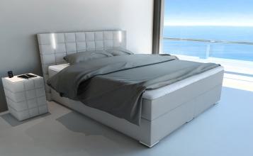 sale boxspringbett mit led beleuchtung 140x200 cm hellgrau boston auf lager. Black Bedroom Furniture Sets. Home Design Ideas