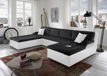 Wohnlandschaft 190 x 335 x 230 cm Sofa schwarz weiß ROSELLA