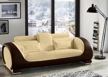 Sofa 3-Sitzer Couch creme / creme / braun Vigo
