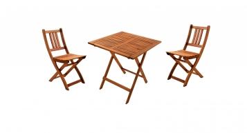 SAM® Balkonmöbel Set Akazie 3tlg Balkontisch 70 x 70 cm BLOOM