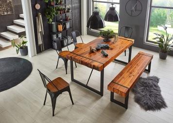 Tischgruppe Massiv Akazie cognac 160 cm Tisch mit Sitzbank & 4 Stühle LUPIN