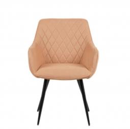 SAM® Esszimmer Armlehnstuhl Stoffbezug Cappuccino, Schwarze Metallfüße ELLI