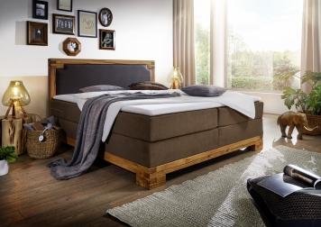SAM® Boxspringbett 140 x 200 cm Stoff- und Kunstlederbezug braun BARRINGTON