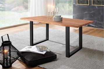Baumkante Esstisch Sheesham-Holz teakfarben gebeizt 160x85 schwarz Lotti