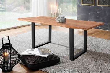 Baumkante Esstisch Sheesham-Holz teakfarben gebeizt 280x100 schwarz Lotti