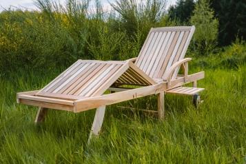 SAM® Gartenliege massiv Teakholz mit Ausziehtisch 196 x 52 cm JULE