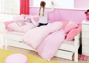 sam einzelbett kinderbettenserie massiv 90 cm buche wei auf lager. Black Bedroom Furniture Sets. Home Design Ideas