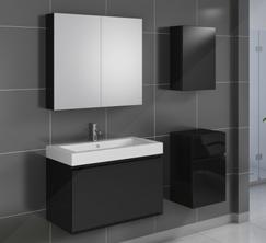 SAM® Badmöbel 4tlg Set Softclose schwarz Hochglanz Parma 80 cm