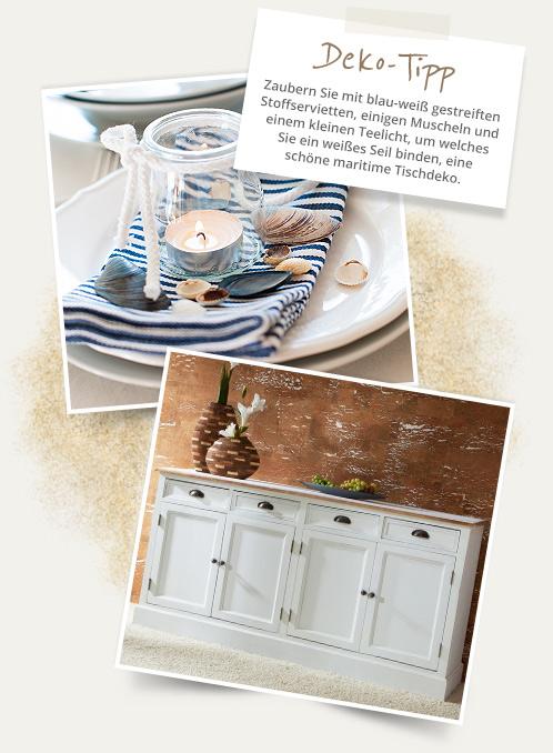Deko-Tipp Zaubern Sie mit blau-weiß gestreiften Stoffservietten, einigen Muscheln und einem kleinen Teelicht, um welches  Sie ein weißes Seil binden, eine schöne maritime Tischdeko.