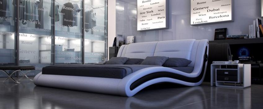 Polsterbetten aus Lederimitat vereinen pflegeleichten Komfort mit ausgefallenem Design in schwarz-weiß