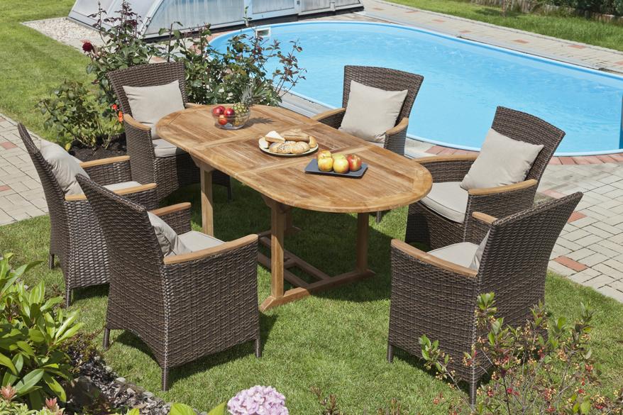 Stehen die Gartenmöbel ganzjährig im Freien, sollten sie robust sein