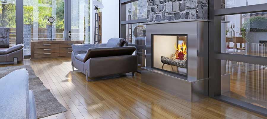 Ein Gemutliches Feuer Welcher Kamin Im Wohnzimmer Zuhause Bei Sam