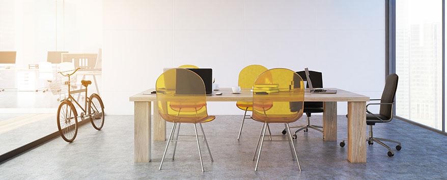 Die schlichten Möbelbeine wirken toll im Kontrast zu einer dicken Holzplatte