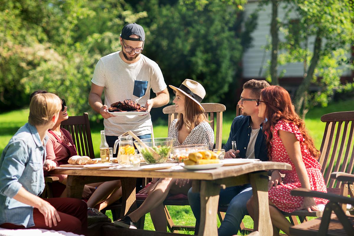 Sommer Sonne Gartenparty Zuhause Bei Sam